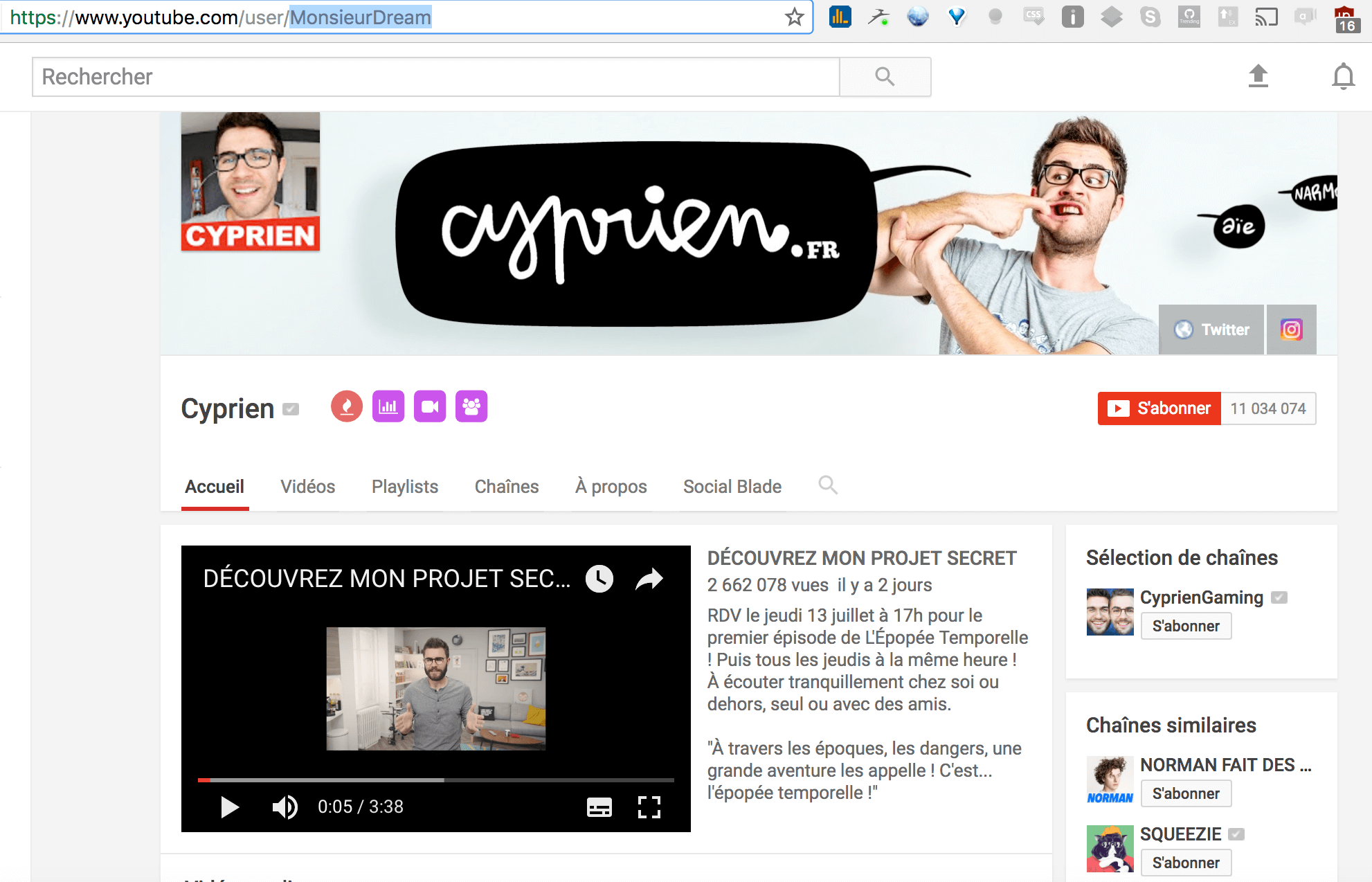 chaine youtube cyprien